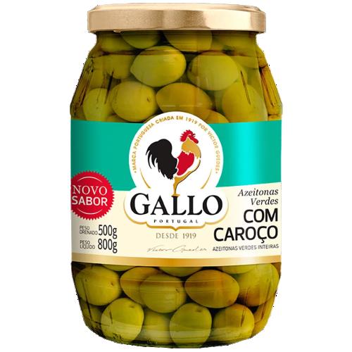 AZEITONA GALLO VERDE COM CAROÇO 500G