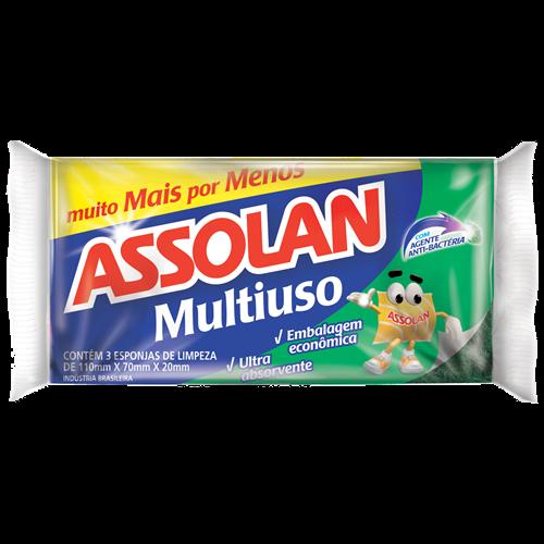 ESPONJA DUPLA FACE ASSOLAN M USO 10X3UN
