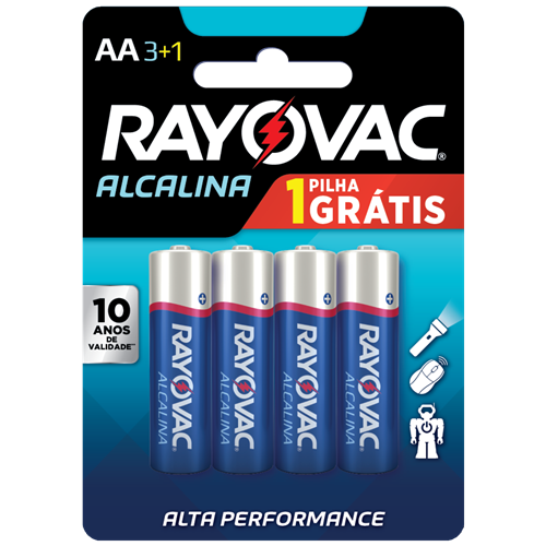 PILHA RAYOVAC ALCAL PEQ CART/4 LV4P3 AA4