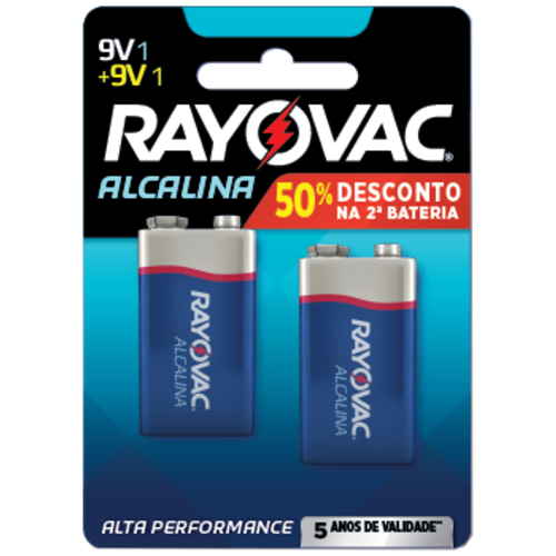 BATERIA RAYOVAC ALCAL CART/2 9V LV2G50%