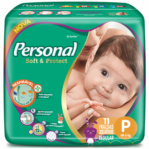 FRALDA PERSONAL BABY REGULAR P 1X11UN