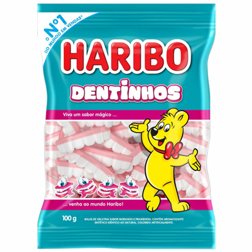 BALA DE GELATINA HARIBO DENTINHOS 100G