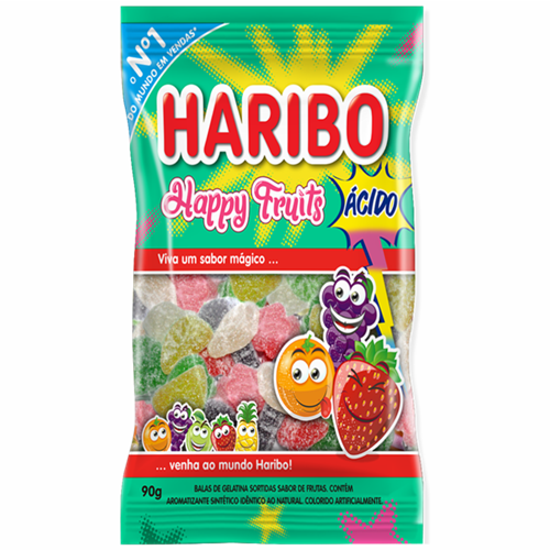 BALA DE GELATINA HARIBO HAPPY FRUITS 90G