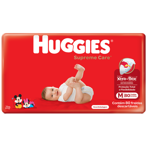 FRALDA HUGGIES SUPREME CARE XTRA FLEX HIPER M  C/80
