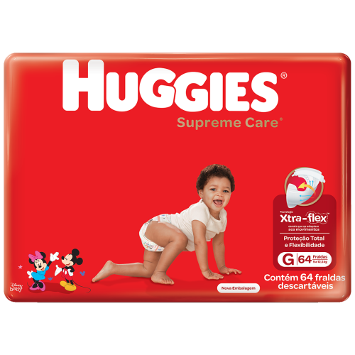 FRALDA HUGGIES SUPREME CARE XTRA FLEX HIPER G C/64