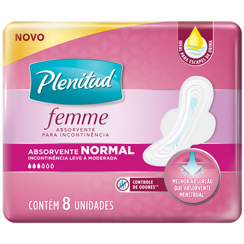 ABSORVENTE PLENITUD FEMME NORMAL COM ABAS C/8UN